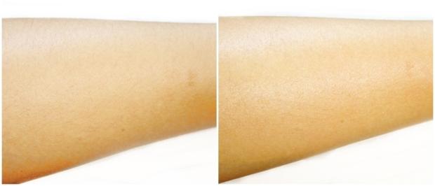 Braço antes e depois do tratamento esfoliante e óleo corporal